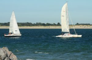 Sailing and surfing near the Oven Campsite in Hayling Island Hampshire